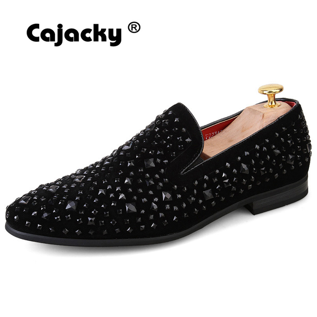 Cajacky Black Diamond Dress Shoes 2018 Fashion Luxury Brand Men Loafers  Pointed Toe Smoking Slippers Shoes Mens Flats Loafers add0b078a348