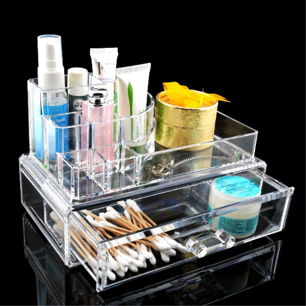 9 Grids 2 Layer Drawers Storage Holder Make up Organizer Holder Case jewelry Box Sundry Container Clear Acrylic EQC367