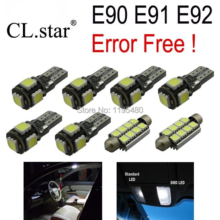 9pcs LED Interior Light Kit + Front dome lamp + Rear map lights + Vanity mirror bulb for BMW 3 series E90 E91 E92 (2006-2011)