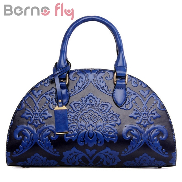 48fb59fe62 Berno fly New Flowers Embossed Chinese Style Vintage Fashion Women Shell Bag  Leather Women Handbag Ladies Shoulder Bag Female