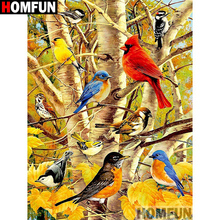 HOMFUN Full Square/Round Drill 5D DIY Diamond Painting Animal bird 3D Embroidery Cross Stitch Home Decor A21342
