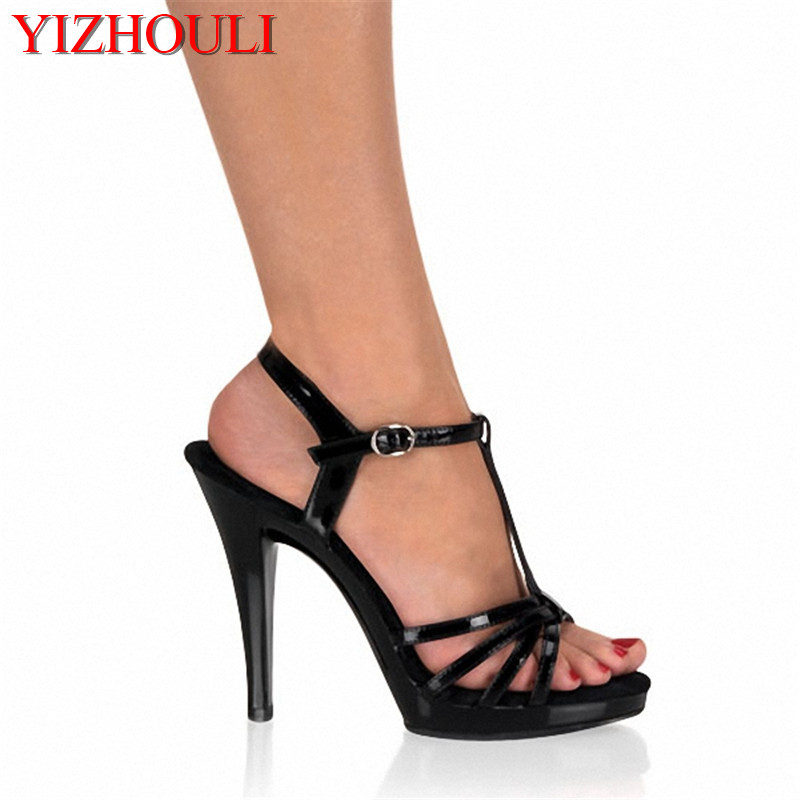 Sexy fashion Roman style shows black sandals Performance photographed the bride wedding shoes 13cm bride of the water god v 3