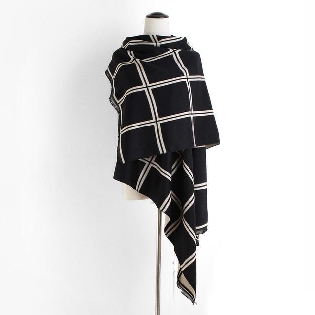 655d84afbeec5 New fashion women tartan plaid cashmere pashmina scarves lady winter thick  warm wool blanket scarf brand