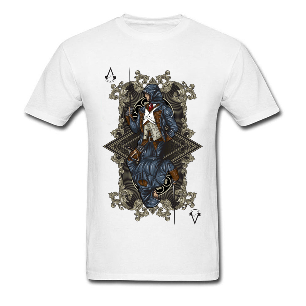 Fashion Unity Card Men White T-Shirt Classic Game Character Assassin Print Male Tops & Tees Cotton T Shirt Free Shipping image