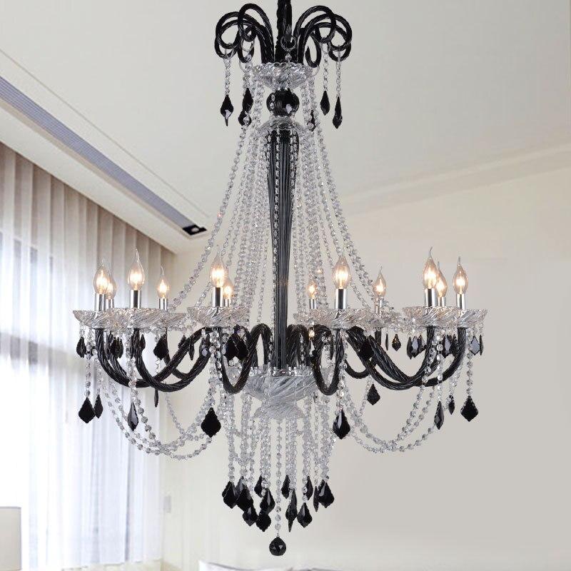 Moderne noir long cristal lustres salon hall hôtel hall lustre avec corne cerf lustre art déco cristal pequeno