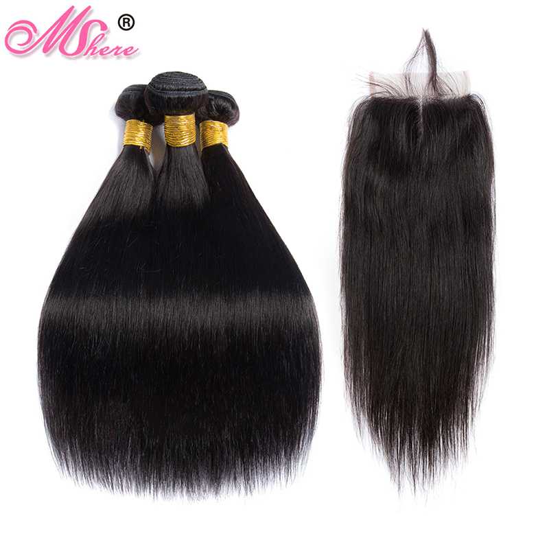 Straight Hair Bundles With Closure Peruvian Human Hair 3 Bundles With Lace Closure Mshere Hair Weave