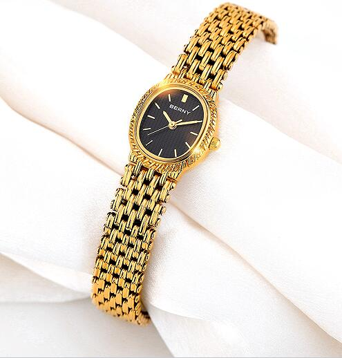 BERNY Gold Watches Women Famous Brand 2017 New Luxury Watch Women Black Small Oval Dial Classic Female Dress Quartz Watches 2146 famous brand new black women s medium m ruched cowl neck sheath dress $90 076
