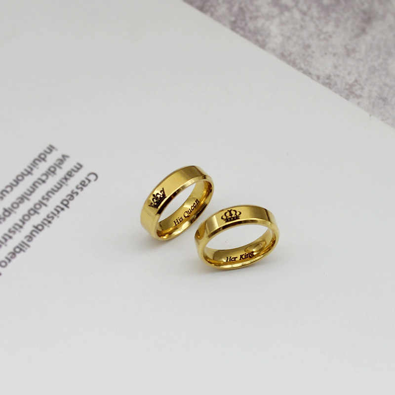 297556125a ... My King My Queen Couple Ring Black Gold Beauty and the Beast Silver  Personality DIY Ring ...