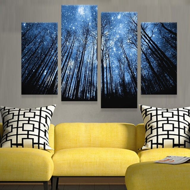 HD Druck 4 Stücke Ein Satz Holz Stern Schlafzimmer Malerei Wandkunst  Dekoration Leinwand Gemälde Für Wohnzimmer