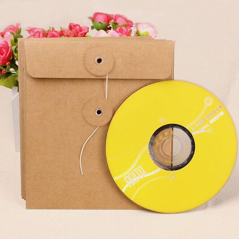 Kraft Paper CD Cases Envelope Bag 2pcs Sleeves DVD Photo Postcard Storage Boxes Discs Caver Holder Envelope File Bag Envelope