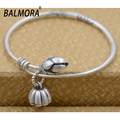 BALMORA Retro Style 100% Real 990 Pure Silver Jewelry Lotus Flower Bangles for Women Lover Gifts High Quality Bijoux SY50111