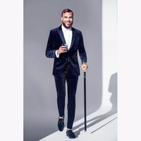Latest Coat Pant Design Navy Blue Velvet Men Suit Formal Slim Fit Tuxedo 2 Piece Blazer Custom mens Party Suits Terno Masculino