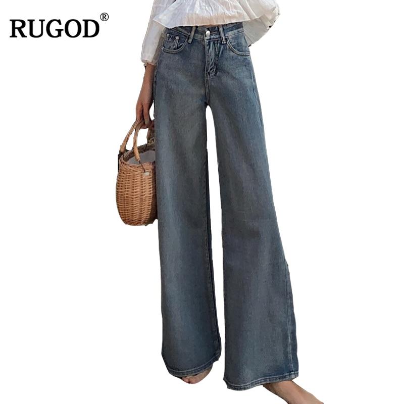 RUGOD Fashionable Wide Leg Pants Loose Casual Women's HIgh Waist Denim