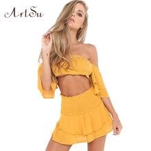 ArtSu Ruffles Women Beach Two Piece Set Sexy High Waist Lace Up Cross Top Blusa Skirt Sets Summer Ruched Party Suit ASSU30050