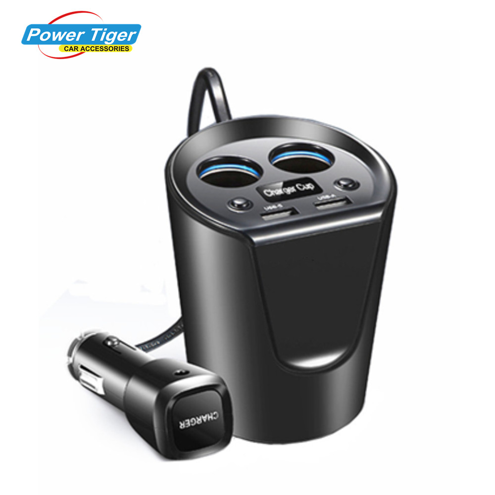 Prix pour 12-24 V 3.1A Dual USB Chargeur De Voiture Adaptateur Avec Tension Courant Affichage Chargeur De Voiture Porte-Gobelet 2 Sockets Cigarette Briquet