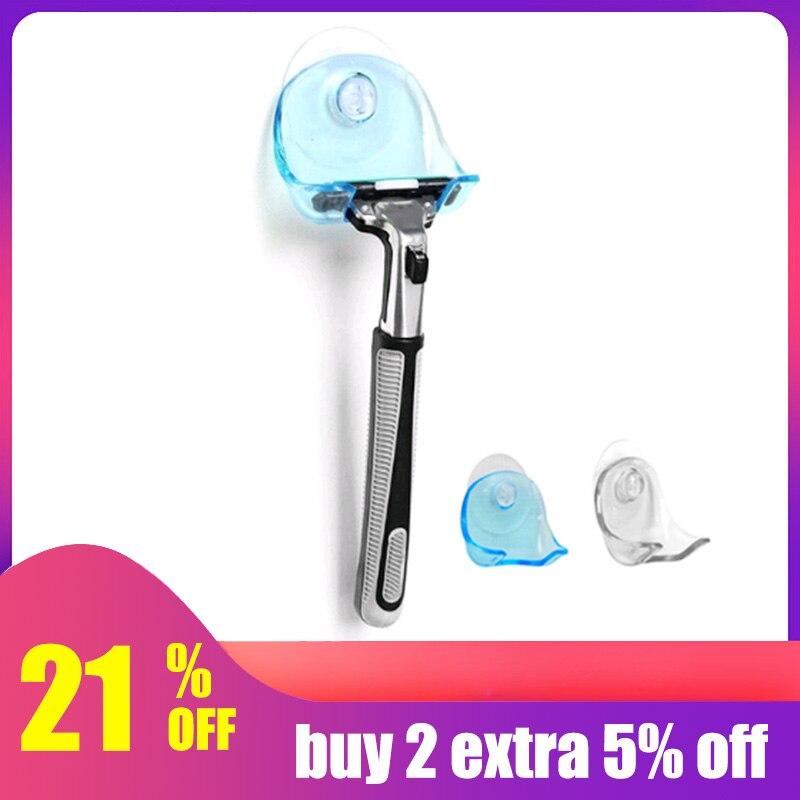 LASPERAL 1piece Clear Blue Plastic Super Suction Cup Razor Rack Bathroom Razor Holder Suction Cup Shaver Storage Rack Promotion