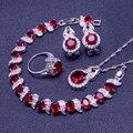Creado Rubí Topacio blanco Rojo Sistemas de La Joyería Para Las Mujeres 925 Plata de Ley Pendientes/Anillos/Pendiente/Collar/pulseras Caja de Regalo Libre