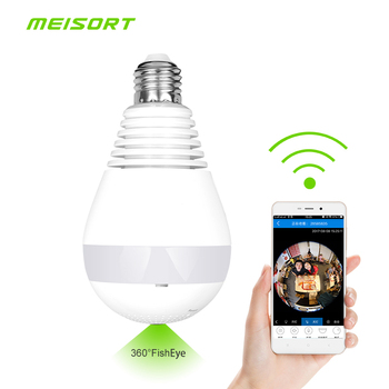 Bulb LED Light wifi Camera Wi-fi Fisheye 960P 360 degree CCTV Camera 1.3MP Home Security WiFi Camera Panoramic camera 1