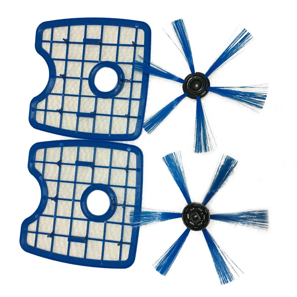 Top Sale Vacuum Cleaner 2 Filter Screen+2Round Brush For Philips Robot FC8820 FC8810 Sweeping Robot Accessories