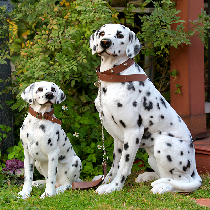 Resin Creative Dalmatian Dog Statue Vintage Simulation Dog Home Decor Crafts Room Decoration Garden Resin Animal Figurines Gifts