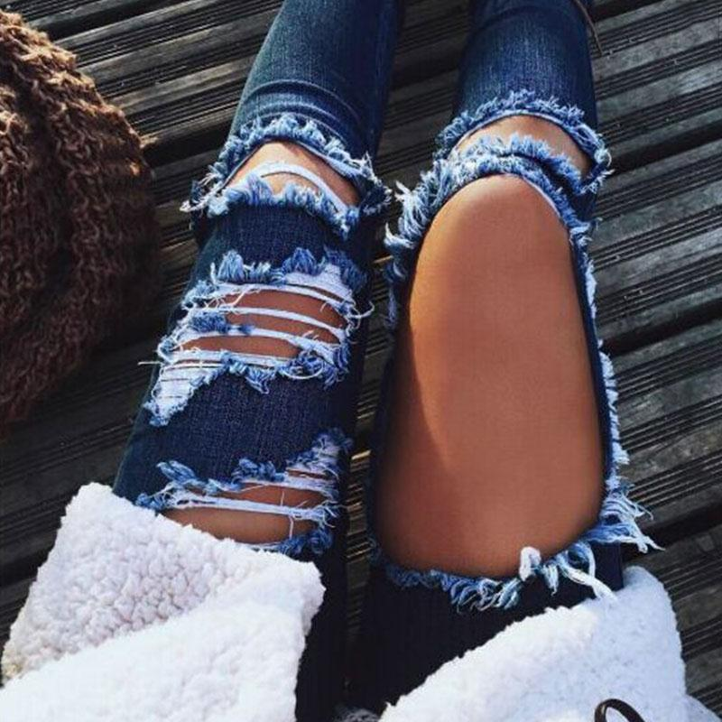 Ripped Hollow Out Denim Jeans Pants Women 2017 Fashion Sexy Pants Blue Jeans Mom Ladies Femme Ripped Jeans Mujer