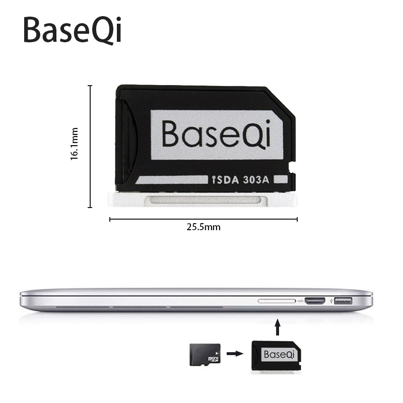 Para Macbook Pro Retina 13 ''303A lector de tarjetas Baseqi adaptador de tarjeta MiniDrive de aluminio