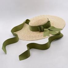 Boater Hat Wheat Straw Large Brim Floppy Hats Summer Beach Sun Hat for Women 2018 Vintage Ladies Ribbon Tie Hats