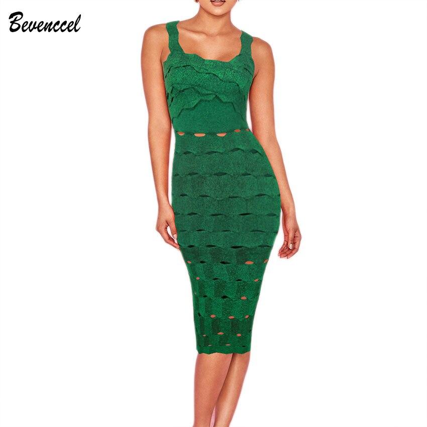 2019 新シックな夏のカクテルパーティードレスノースリーブスパゲッティストラップジャガードロングドレスグリーンボディコン Vestidos 包帯ドレス  グループ上の レディース衣服 からの ドレス の中 1
