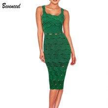 2019 Yeni Chic Yaz Kokteyl Parti Elbise Kolsuz Spagetti Kayışı Jakarlı uzun elbise Yeşil Bodycon Vestidos Bandaj Elbise