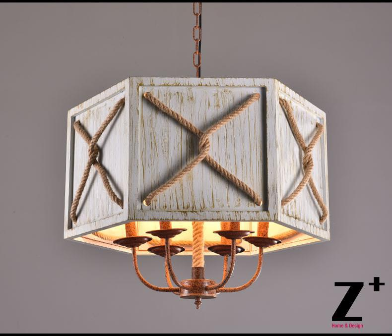 America Style Industry Country Lustr Dřevěná lampa 6 E27 Vintage Iron Made Doprava zdarma