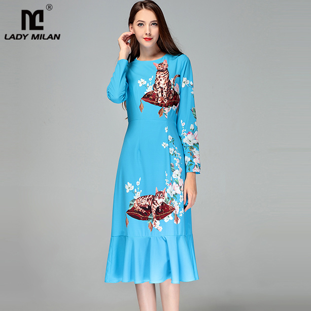 New Arrival 2018 Womens O Neck Long Sleeves Cartoon Printed Ruffles Fashion Mermaid Casual Dresses