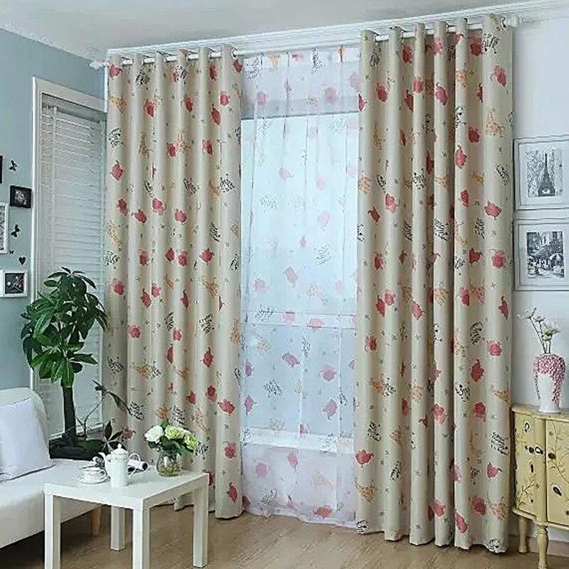 Cute Door Window Curtain Fabric Printed Elephant Giraffe