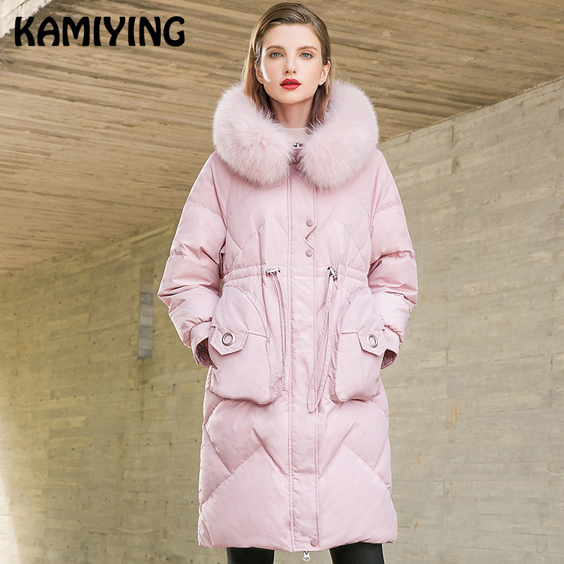 Kamiying 2018 Winter New Fashion Modern Medium Size Thicker Fox Fur Collar Hooded Temperament White Duck Down Coat Pkhd720