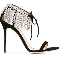 Women's Luxury Bling Bling Crystal Sandals Thin High Heels Ankle Folding Fringe Rhinestone Dress Shoes Lace Wedding Sandals