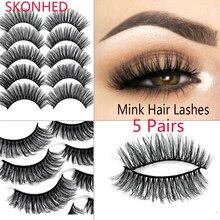 5Pairs 3D Soft Faux Mink Hair False Eyelashes Natural Messy Eyelash Crisscross Wispy Fluffy Lashes Extension Eye Makeup Tools