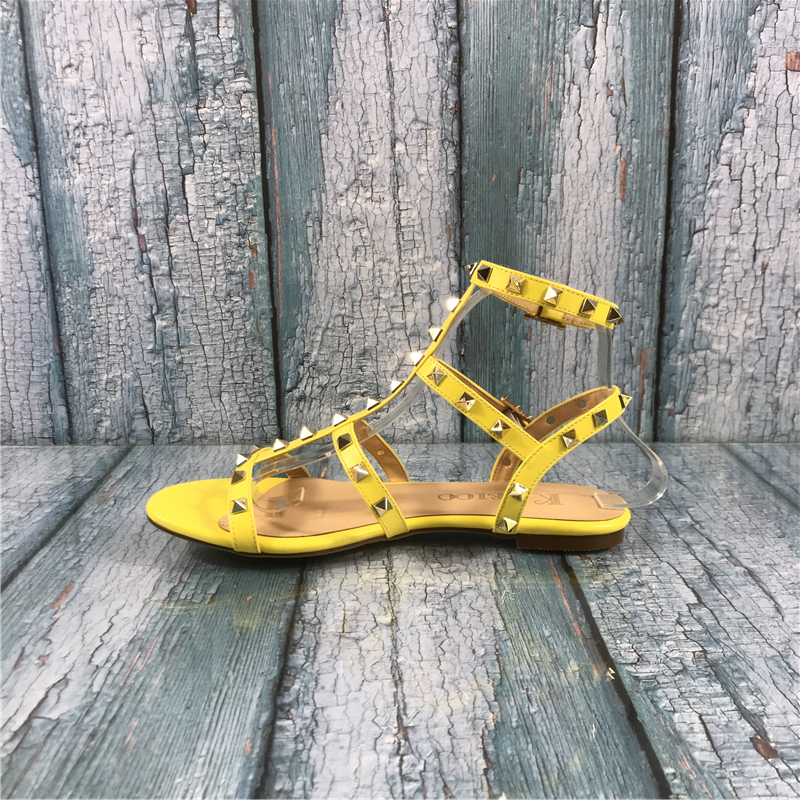 Kmeioo Gladiator For Women Rivets Studded Sandals Cuts-Out Flats Buckle Strap Woman Shoes Fashion Summer Ladies Shoes Large Size
