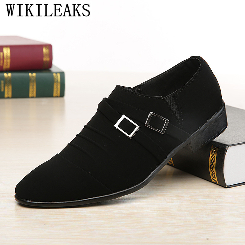 2019 Fashion Pointed Toe Dress Shoes Men Loafers   Suede     Leather   Oxford Shoes For Men Formal Mariage Wedding Shoes Sapato Social