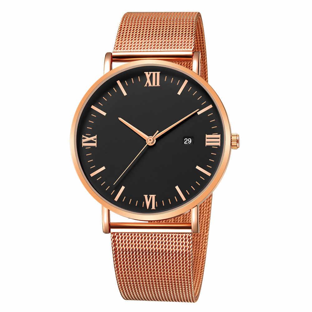 גברים של שעון יוקרה קוורץ Ultrathin שעוני יד mens פנאי נירוסטה להקת שעון יד גברים שעונים relogio masculino