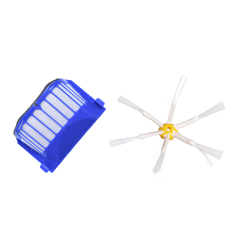 Aero Vac Filter Side Brush 6-Armed for iRobot Roomba 500 600 Series 536 550 551 552 564 620 630 650 660 Vacuum Cleaning Robotic 3 set beater brush 3 aero vac filter 3 side brush kit for irobot roomba 600 series 595 620 630 650 660 replacement