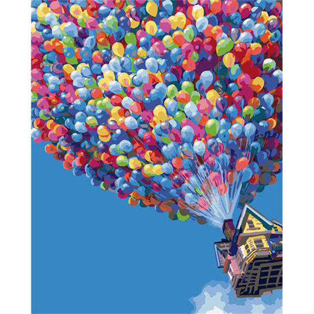 Hot Air Balloon Flying Around The House Diy Painting By Numbers Coloring  Canvas Art Wall Decoration