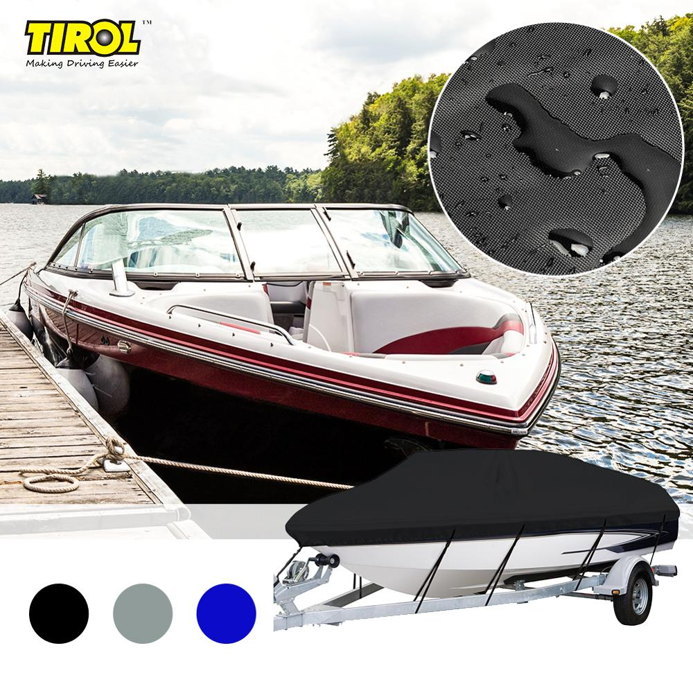 Tirol 14-16FT Boat Cover 600D Runabout Boat Cover Outdoor Waterproof Boat Cover Fits V-Hull, Tri-Hull,Runabout Boat Cover Size M
