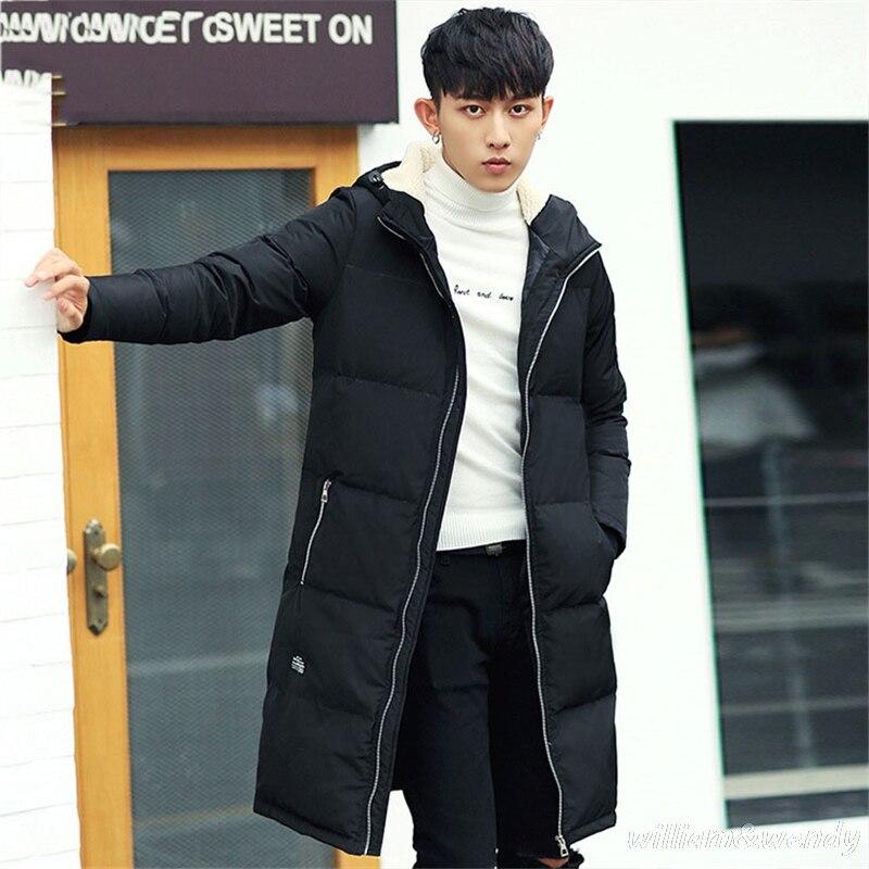 Здесь можно купить   Men Korean Ultra Light Large Size Parka Jacket Extra Long Warm Cardigan Overcoat Clothing Winter Hooded Thick Coat Manteau Homme Одежда и аксессуары