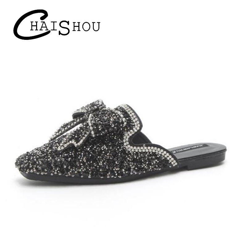 680912c2a7f65 2018 New Fashion Women shoes Round Toe Crystal bow knot PU Casual Flat  women slippers Rhinestone Flip Flops Beach Sandals U054-in Slippers from  Shoes on ...