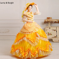 Retro Victorian Era Princess Sissi Inspired Costume Royal Ball Gowns Belle Fancy Dress YELLOW