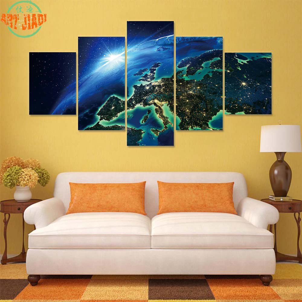 NEW 5 Pieces/sets Canvas Art Aurora Show at Finnish Lake HD Canvas ...
