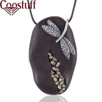 Collier Vintage en bois de santal pour femmes avec pendentif libellule colliers et pendentifs