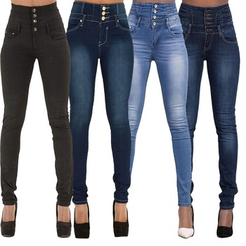 High Waist Denim Pencil Pants 1