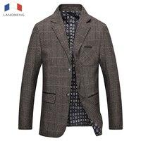 Langmeng New Arrival Autumn Winter Casual Blazers Mens Fashion High Quality Business Jacket Men Suit Coats