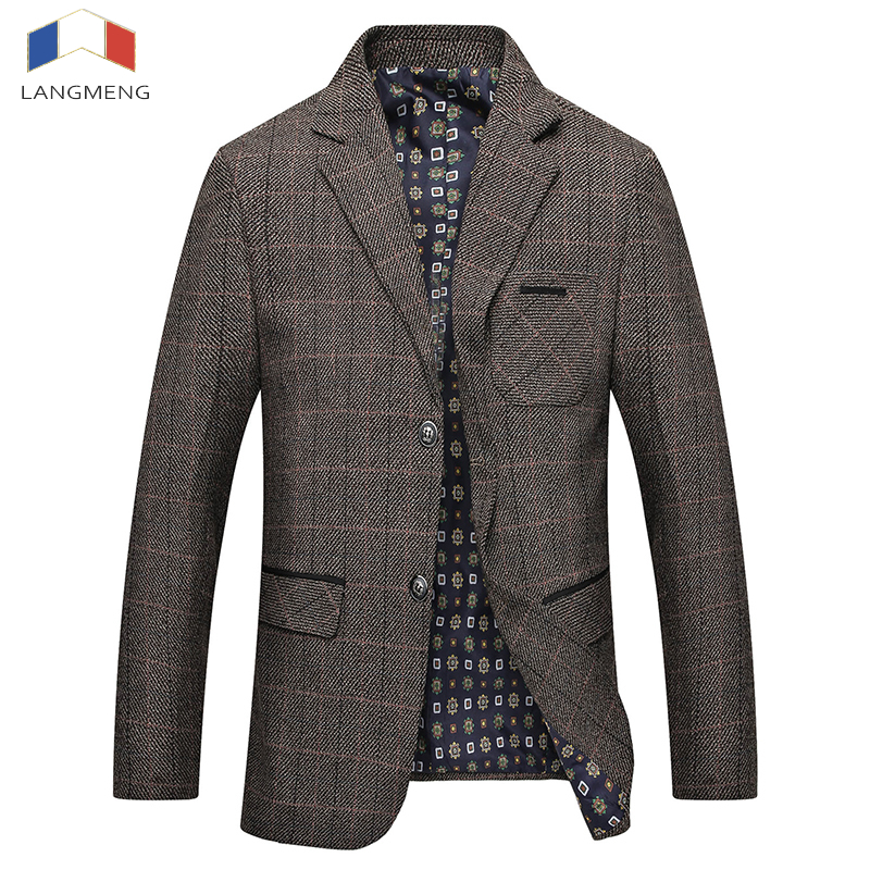 Langmeng New Arrival Autumn Winter Casual Blazers Mens Fashion High quality Business Jacket Men Suit Coats Brand Clothing