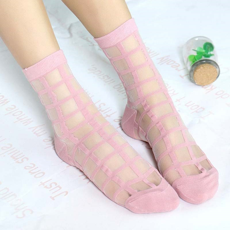 Novelty Glass Crystal Silk Cool Women Girl Lady Summer Transparent Grid Mesh Socks Short Socks Women's Clothing Accessories